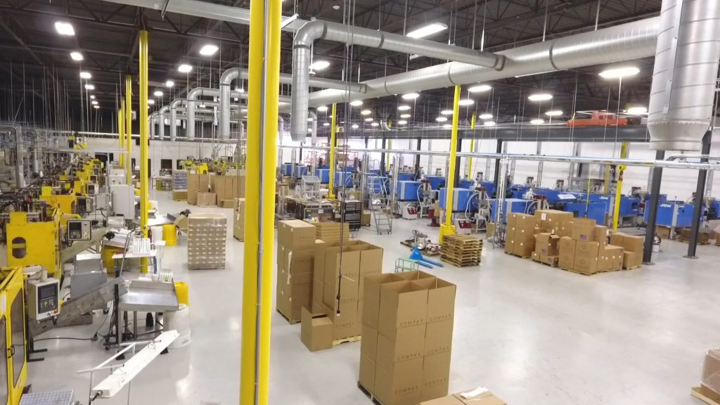 Injection Molding and Blow Molding Machines in an unoccupied plastic bottle manufacturing facility in Salt Lake City, UT.
